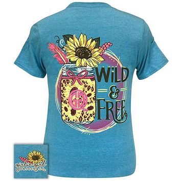 Girlie Girl Originals Preppy Wild and Free Sunflower T-Shirt