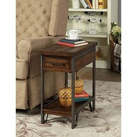 Rectangular Wood and Metal Side Table with USB Outlet, Brown and Gray -CM-AC286 By Casagear Home