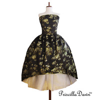 Christine the Mascarade Retro Ball Gown Teaparty Christmas Satin Brocade Black Floral Silk Custom in your size