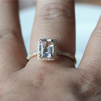 Emerald Cut VS 1.25ct Halo Morganite Ring 14K Rose White Gold Pave Half Eternity Diamonds Wedding Ring/Engagement Ring/ Anniversary Ring