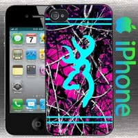 Country Girl Hot Pink Camo and Light Blue Buck Iphone 5 / 5s Case US SELLER