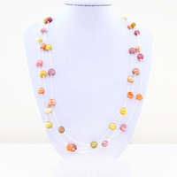 Freshwater pearl necklace, autumn colours, orange yellow, floating illusion necklace,