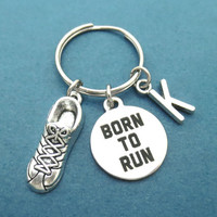Personalized, Letter, Born to run, Runner, Keychain, Keyring, Key chain, Sneakers, Marathoner, Gift, Birthday, Jewelry, Accessory