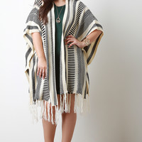 Mixed Stripe Knit Fringe Cardigan