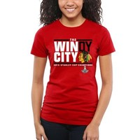 Women's Chicago Blackhawks Red 2015 Stanley Cup Champions Windy City Fitted T-Shirt