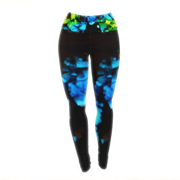 """Claire Day """"Deep Within"""" Blue Green Yoga Leggings"""