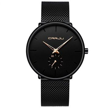 Mens Watches Ultra-Thin Minimalist Waterproof - Fashion Wrist Watch for Men Unisex Dress with Stainless Steel Mesh Band Gold
