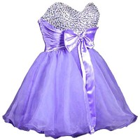 Faironly Stock Mini Short Quinceanera Homecoming Dress (L, White)