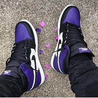 NIKE AIR JORDAN 1 MID AJ 1 classic color block high-top sneakers Shoes Purple&White