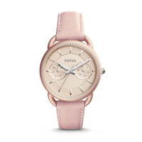 Tailor Multifunction Leather Watch, Blush   FOSSIL
