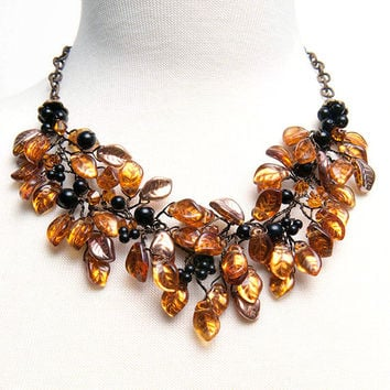 Gold and Black Statement Necklace, Nature Jewelry, Bib Necklace, Bridal Jewelry