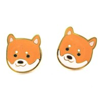 Adorable Shiba Inu Puppy Dog Face Shaped Stud Earrings | Limited Edition