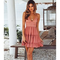 Fashion low-cut V-neck strapless lace dress beach sexy skirt pink