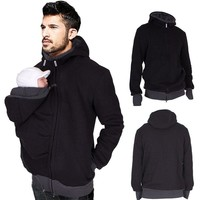 Dad Winter Kangaroo Cotton Baby Carrier jackets Maternity clothes Dad Coat Hoodies Wearing Carry Infant Sweatshirt Size S-2XL