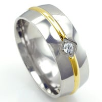 Ben's Stainless Steel Two Toned CZ Wedding Band