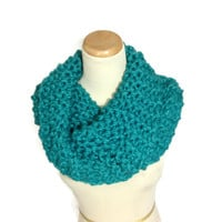Chunky Cowl, Outlander Inspired Cowl, Claire Inspired, Hand Knit Cowl, Teal Scarf,  Infinity Scarf,  Neck Warmer, Scarf,  Winter Scarf