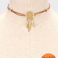"14"" dream catcher choker bib collar necklace faux leather"