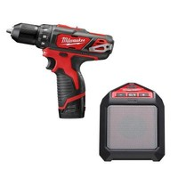 Milwaukee M12 Lithium-Ion 3/8 in. Drill/Driver Kit with Blue Tooth Speaker-2407-22B - The Home Depot