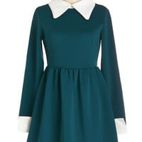 Kling Vintage Inspired Mid-length Long Sleeve A-line Far Haute Dress in Teal