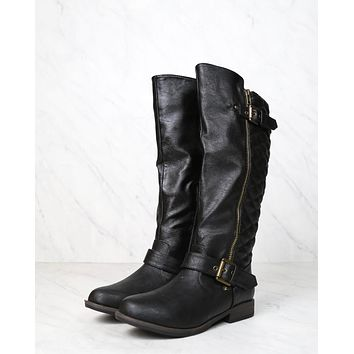 tall quilted riding boot with buckle detail in black