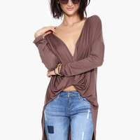 V-Neck Wrap Front Asymmetrical Long Sleeve Top