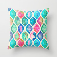 Watercolor Ogee Patchwork Pattern Throw Pillow by Micklyn