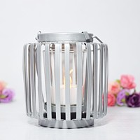 BLOWOUT Hanging Cylinder Tealight Candle Lantern - Silver
