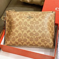 COACH New Fashion Pattern Print Handbag Cosmetic Bag File Package  Khaki