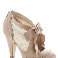 ModCloth Vintage Inspired, Fairytale, French Drama Director Heel in Taupe