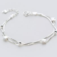 Lovely multi level cube ball 925 sterling silver bracelet,a perfect gift
