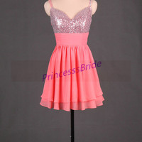 2014 short watermelon homecoming dress in chiffon,sexy v neck gowns for holiday party,cheap cute prom dresses under 100.