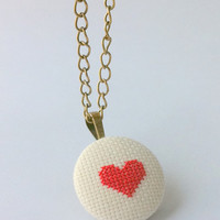 Heart pendant cross stitch necklace with bronce chain