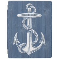 Anchor Vintage Blue Wood iPad Cover