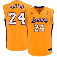 Mens Los Angeles Lakers Kobe Bryant adidas Gold Replica Home Jersey