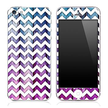 Blue And Pink Wood under White Chevron Pattern Skin for the iPhone 3, 4/4s or 5