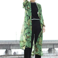Green Leaves Print Chiffon Long Kimono Beach Cover Up