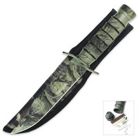 Survivor HK-695B Fixed Blade Knife, Black Reverse Serrated Blade, Black Metal Handle, 9-1/2-Inch Overall