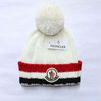 DCCKFC8 MONCLER' Winter Women Cute tab Hairball Warm Hat Knitting Cap