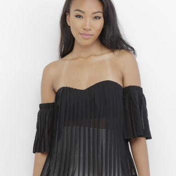 JUST SLEEVE IT PLEATED OFF THE SHOULDER TOP