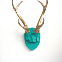 Faux Antler Plaque Wall Hanging Rustic Modern Wall Mount Wall Decor in beautiful teal with gold antlers-Large