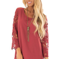 Marsala Lace Sleeve Top with Scalloped Hem