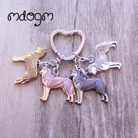 2017 New Cute Husky Dog Animal Gold Silver Plated Metal Pendant Keychain For Bag Car Women Men Key Ring Love Jewelry K002
