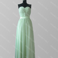 2015 Mint Green Bridesmaid Dresses Sweetheart Sash Long Holiday Party Dresses Prom Dresses Women Formal Evening Dresses Wedding Party Dress