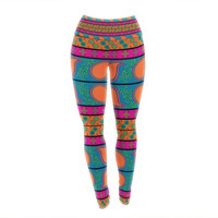 "Nandita Singh ""Bohemian"" Pink Yellow Yoga Leggings"
