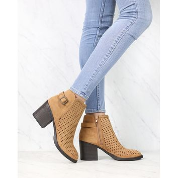 Diamond Perforated Back Buckle Faux Suede Ankle Bootie in Tan