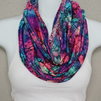 SOLD OUT Floral Abstract Colorful Infinity Scarf Eternity Loop Infinity Scarves Pink Blue Purple Green Turquoise Red Black Pattern Detail