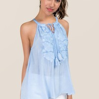 Kinely Floral Embroidered Peasant Tank