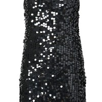 Yoursclothing Women's Plus Size Sleeveless Sequin Front Party Dress