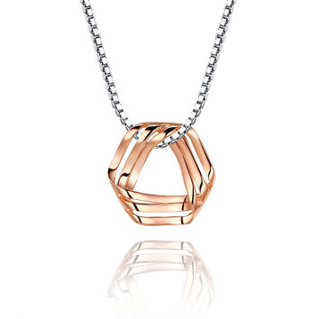 Sterling Silver Rose Gold Color Mobius Strip Pendant Necklace