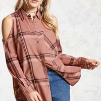 Open-Shoulder Flannel Shirt